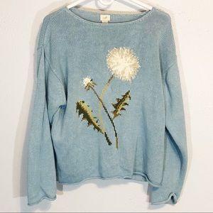 J Jill dandelion sweater linen cotton blend sz L